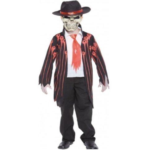 Halloween Für Gangster Jungen Kostüme (Mad Mobster Jungen Zombie Gangster Kostüm - 7-9)