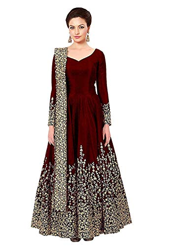 Varudi Fashion Women\'s Embroidered Semi Stitched Anarkali Gown (Morr1_Maroon_Freesize)