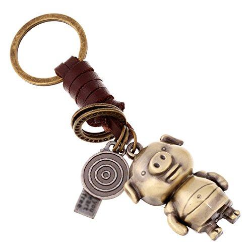 Lumanuby 1 Stuck Ring für Schlüssel PU und Legierung Material Auto Schlüsselbund Vintage Style Farbe mit niedlichen Tier Anhänger Keychain Ca.11.5*3.0cm Geschenke für Liebhaber,Schwein (Ring 1 Schwein)
