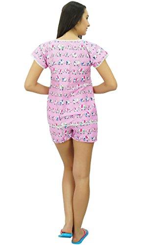 Bimba coton nightwear vers le bas haut des avec un short nuit costume ensemble Rose