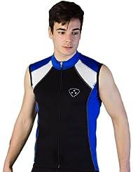 Deporteshera - Ropa ciclismo, Maillot Sin Mangas, Camiseta Ciclismo, Color Azul/Negro/Blanco