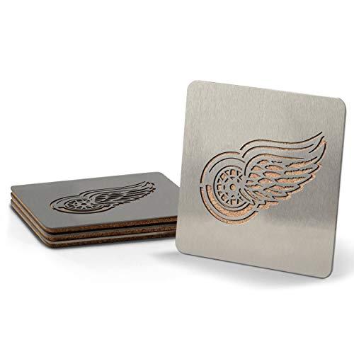 Sportula NHL Detroit Red Wings boasters, schwere Edelstahl Stahl Untersetzer, 4Stück Drinkware Fan-set