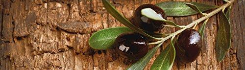 Artland Qualität I Glas Küchenrückwand ESG Spritzschutz Küche 180 x 51.4 cm Ernährung Genuss Speisen Obst Foto Braun G5SS Oliven vor Einem Holzhintergrund