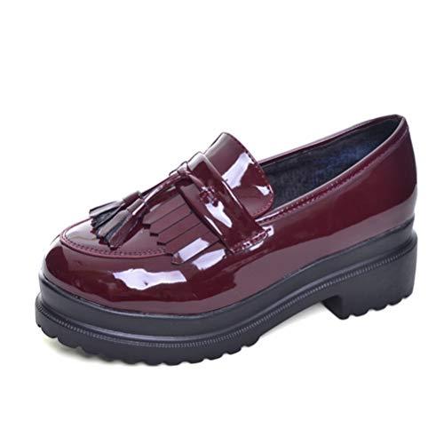 Zapatos Oxford de Charol para Mujer Plataforma Pisos Primavera Verano Punta Redonda Slip-on Casual Aumentar Zapatos