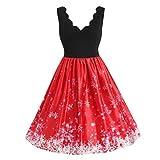 JURTEE Räumungsverkauf Mode Frauen Vintage Große Größen Schneeflocke Print V Ausschnitt Weihnachten Flare Kleid Swing Kleid Partykleid