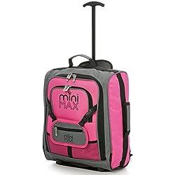 MiniMAX niños / Niños cabina de equipaje Maleta Trolley con la mochila y la bolsa para su favorito muñeca / figuras de acción / Bear (Rosado)