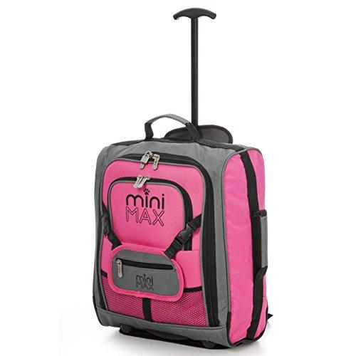 MiniMax Kindergepäck Trolley-Koffer mit Rucksack und Tasche für Spielzeugen/ Puppen/ Teddybär (Rosa)