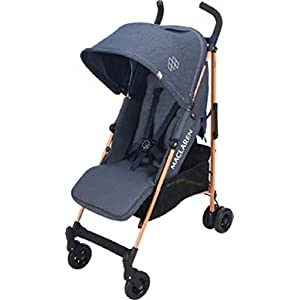 Maclaren Quest Stroller - lightweight, compact, safe  Bumper bar, raincover, shopping basket and parent tray with cupholders UPF 50+ sun canopy and oversized expandable hood SoftTouch 5-point safety harness adjusts to 3 heights 4-position recline and 2-position leg rest One-hand instant fold with automatic lock 11