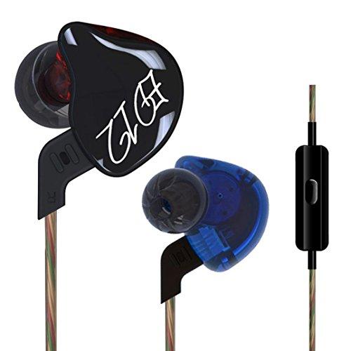 Fulltime® Ursprüngliche KZ ED12 Pro Performance-In-Ear-Kopfhörer HiFi Dynamic Dual Farben-Harz und Abnehmbare Kabeldesign Earbuds mit Patent Eartips, Monitor-Headset (Mit Mikrofonsteuerung) Patent 3 3/4