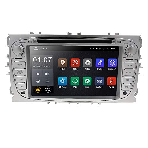 In Dash GPS DVD Player fit Ford Mondeo S-max Focus Galaxy C-max HIZPO Android 8.1 Car Radio Double Din Stereo 7 inch Touchscreen Support Mirror Link 4G WIFI USB SD CAM-IN OBD2 DAB+ DVR Silver Color