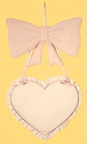 Fiocco nascita cuore con tela aida (rosa)