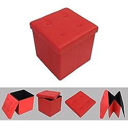 Todeco - Banc Pliant, Ottoman avec Espace de Stockage - Charge maximale: 150 kg - Matériau: Simili-cuir - Finition piquée et capitonnée, 38 x 38 x 38 cm, Rouge
