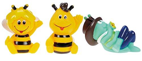 Lena 65516 - Wasserspritztiere Biene Maja 3er Set, mit Spritzfiguren Maja, Willi und Grashüpfer Flip, Badespielzeug Set mit 3 Wasserspritzer für Kinder ab 1 Jahr, Wasserspielzeug Set mit Spritztieren