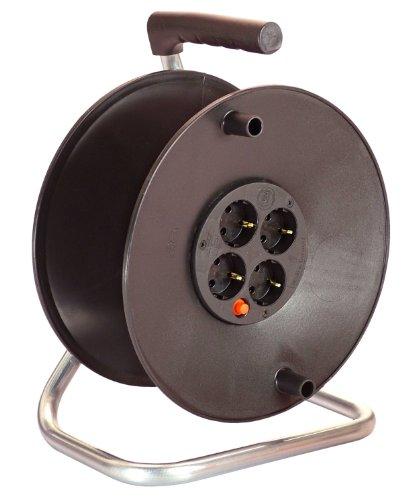 as - Schwabe Sicherheits-Leertrommel ohne Kabel - Kabeltrommel für max. 50 m Leitung - 4 Einbau-Steckdosen - IP20 Innenbereich - Made in Germany - Schwarz I 10108
