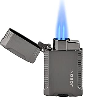 TOPKAY Double Jet Lighter, Windproof Butane Gas Cigarette Lighter, Cigar Lighter, Turbo Twin Jet Flame Torch Lighter 12