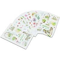 Juego de 6 hojas de pegatinas transparentes creativas con elementos florales impermeables para calendario, diario y álbum de recortes, decoración