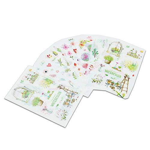 6 Blatt/Set niedliche transparente Aufkleber Kreative Blumen Elemente Aufkleber Wasserdicht Kalender Tagebuch Scrapbook Dekoration