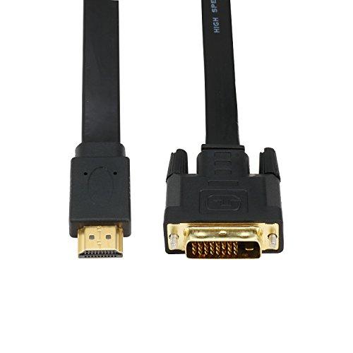 CableDeconn DVI zu HDMI-Kabel oder HDMI zu DVI Bi Directional Stecker High Speed Flat Adapter Kabel unterstützt 1080p Full HD Schwarz -