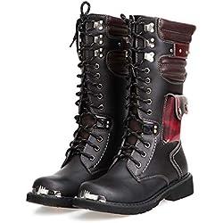XINTD Bota Martin para Hombre Moda británica Cuero Genuino Botas Altas Impermeable Ejército Gótico Motocicleta Steampunk Zapatos Moto Botas Vaqueras Occidentales Botas de Uniforme,38