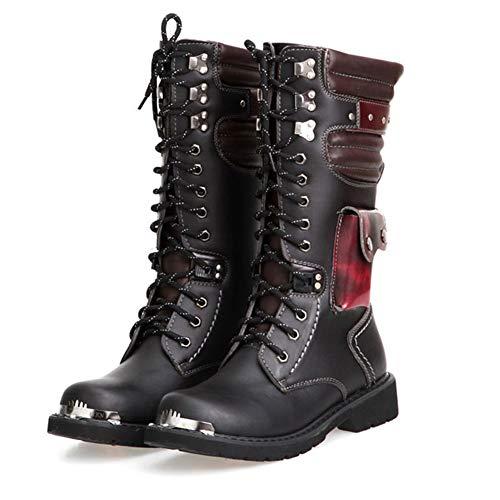 XINTD Herren Martin Stiefel British Fashion Echtes Leder Wasserdicht High Boot Armee Gothic Motorrad Steampunk Schuhe Motorrad Western Cowboy Stiefel Uniform Stiefel,37 -