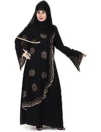 D C Women's Firdous Abaya Burkha with Hijab Scarf and Mouthpeice (Black, Free Size_Islamic Wear Abaya Burqa,Burqa for woman), BQ_002