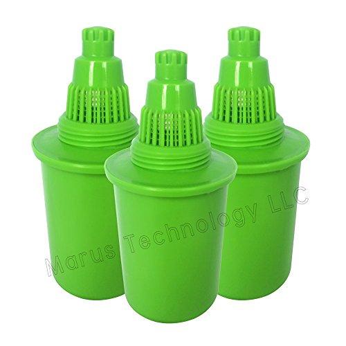 WellBlue Ersatz-Wasserfilter, basisches Wasser, kompatibel mit vielen Marken, Pionier-Design, 3 Stück Grun (Alle Pur-krug)