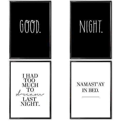 VERSCHIEDENE Poster Set 's » Good Night « 4 x DIN A4 auch mit Bilderrahmen | Bilder schwarz weiß mit Sprüchen für Wohnzimmer | Kunstdruck, Wandbild, Bild mit Spruch für Schlafzimmer mit Rahmen