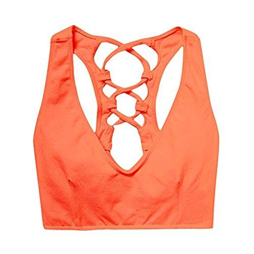 Frauen Kreuz Zurück Bh-top (Casadeiy Frauen Leichte Unterstützung Strappy Kreuz zurück Workout Yoga Gym Sport BH Top Size M (Orange))