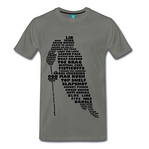 Spreadshirt Eishockey Terminologie Ice Hockey Begriffe Männer Premium T-Shirt, S, Asphalt