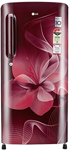 LG 190L 4 Star Direct Cool Single Door Refrigerator (GL-B201ASDX.ASDZEBN, Scarlet Dazzle,...