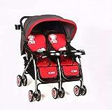 QZX Zwillings Kinderwagen Doppelkinderwagen,für Babys und Kleinkinde 5-Punkt-Sicherheitssystem, verlängerte Überdachung, unabhängig voneinander liegende Sitze