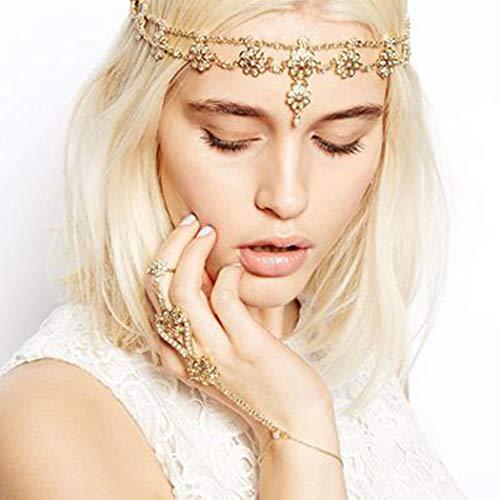 Indischer Kopfschmuck - Jovono Boho Blume Kopfkette Perlen