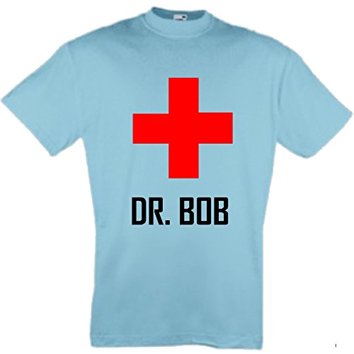 world-of-shirt Herren T-Shirt Dr.Bob Dschungelcamp Funshirt Hellblau
