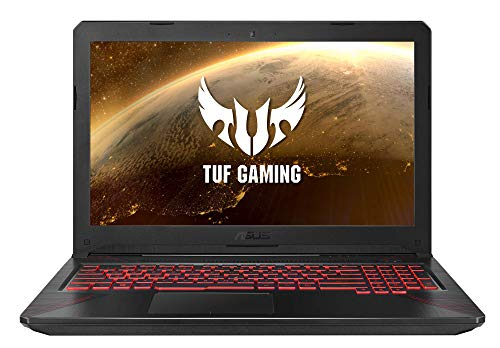"""ASUS TUF Gaming FX504GD-DM194 - Ordenador portátil de 15.6"""" (Intel Core i5-8300H, 8 GB RAM, 1TB HDD, GeForce GTX1050, sin Sistema operativo) Negro patrón y Rojo - Teclado QWERTY Español"""