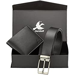 Hornbull Men's Black Wallet and Belt Combo