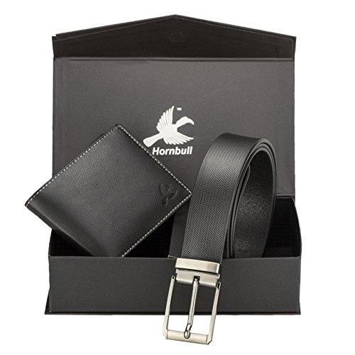 Hornbull Men's Black Wallet and Belt Combo