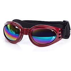 Cestlafit Gafas De Sol Para Gafas De Perro De Mascota Uv, Gafas De Sol Para Cachorros De Perros De Protección A Prueba De Viento, Gafas De Perro Para Perros Grandes, Rojo