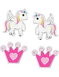 FIVE-D 2Pares Infantil Pendientes Unicornio y Purpurina Corona de Plata de Ley 925en Estuche de Joyas