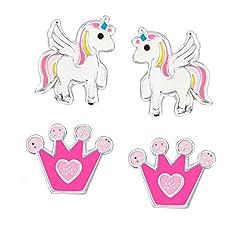 Idea Regalo - SL-Silver 2paio di bambini orecchini set Unicorno strass corona in argento 925, con custodia in regalo e Argento, colore: Pink-pink, cod. set134