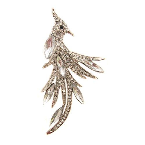 Boutique Brosche Glaskristall Perlen und Steine Silber-Optik, Pfauen-Design, in Geschenkverpackung (Purple Peacock Pin)