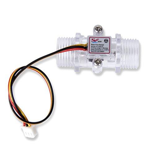 sourcing map G1//2 Halleffekt Wasser Fl/üssigkeit Durchflusssensor Schalter DC 5 V 1-30L//min DE de