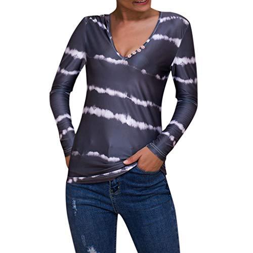 HEETEY Herbst und Winter Sweatshirt Pullover Tops Frauen-Farben-Streifendruck Weg von der Schulter übersteigt Damen beiläufige Lange Hülsen-Bluse Langarmshirts Tops Sweatshirt Oberteil Pullover -