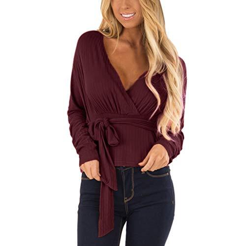 312 Pullover per Le Donne Vovotrade Casual Bow Manica Lunga Camicetta Magliette Oversize T-Shirt Top con Cintura