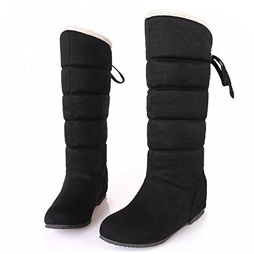 HSXZ Scarpe da donna in pelle Nubuck molla Comfort caduta neve Stivali Stivali Mid-Calf piatto stivali per Casual rosso marrone nero Brown