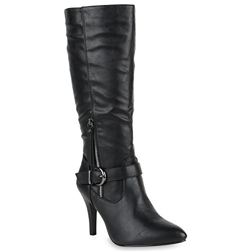 Klassische Stiefel Damen Boots Leder-Optik High Heels Schnallen Schuhe 147942 Schwarz Schnalle 38 Flandell Leder Stiefel