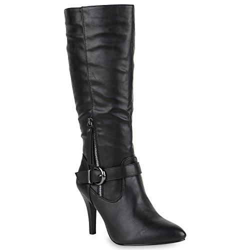 Klassische Stiefel Damen Boots Leder-Optik High Heels Schnallen Schuhe 147942 Schwarz Schnalle 37 Flandell