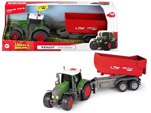 Dickie Toys 203737002 Fendt 939 Vario 203737002 Tracteur avec Friction Lumière Sound & Mouche à Piles Multicolore 41 cm