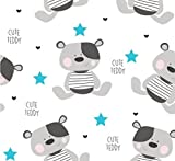 Cute Teddy Blau 100% Baumwolle Baumwollstoff Kinder
