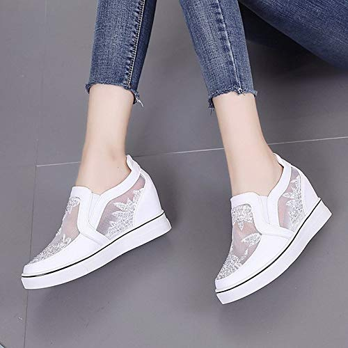 41JkLsU1cAL. SS500  - ZHZNVX Women's Shoes PU(Polyurethane) Summer Comfort Sneakers Wedge Heel Round Toe White/Silver