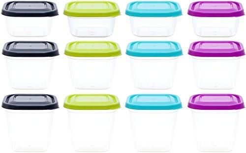 idea-station contenitori in plastica per alimenti, 300 + 480 + 600 ml, 12 parti, colorato, quadrato, impilabile, contenitori alimenti freezer, vaschette plastica, barattolini plastica con coperchio